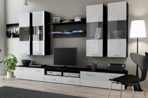 Стенка Dream-1 чёрная/белый фасад