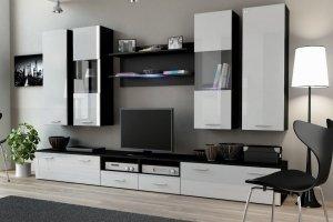 Стенка Dream-2 чёрная/белый фасад